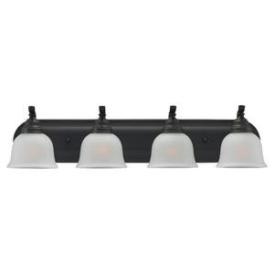 Aster Four-Light Bronze Bath Light with Satin EtchedGlass