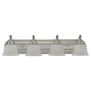 Aster Four-Light Brushed Nickel Bath Light with Satin EtchedGlass