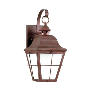 Hazel Weathered Copper Energy Star LED Outdoor Wall Lantern with Transparent Seeded Glass