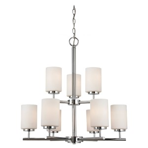 Pax Chrome Nine-Light Chandelier with Etched Opal White Glass