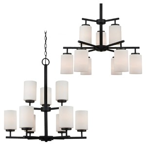 Pax Blacksmith Nine-Light Chandelier with Satin Etched Glass