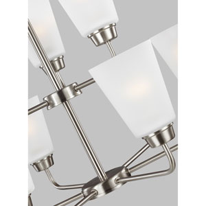 Whitter Brushed Nickel Energy Star Nine-Light LED Chandelier
