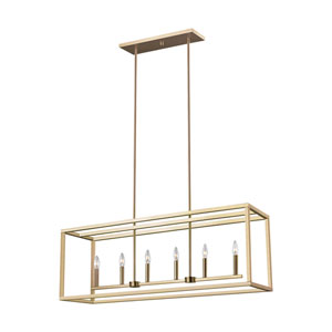 Castor Street Satin Bronze Six-Light Pendant Title 24