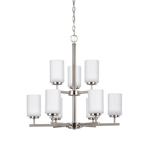 Pax Brushed Nickel 26-Inch Nine-Light Chandelier