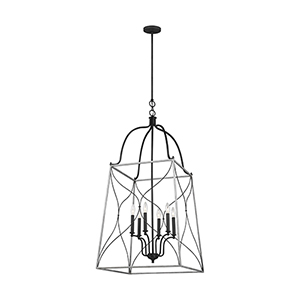 Willow White Wash Six-Light Pendant