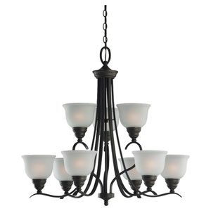 Aster Nine-Light Bronze Chandelier with Satin Etched Glass