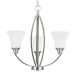 Charles Brushed Nickel Three-Light Chandelier with Satin Etched Glass