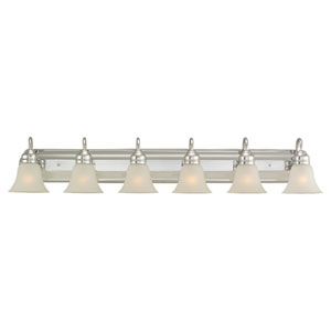George Six-Light Chrome Bath Light with Satin Etched Glass