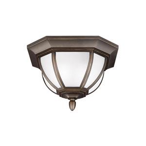 James Antique Bronze Energy Star Two-Light LED Outdoor Ceiling Flush Mount