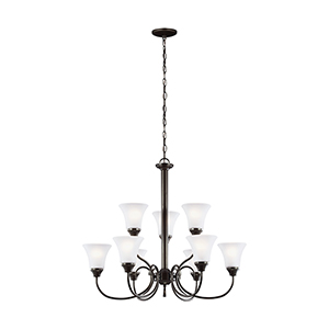 Webster Bronze 30-Inch Nine-Light Chandelier