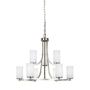 Artemis Brushed Nickel 30-Inch Nine-Light Chandelier