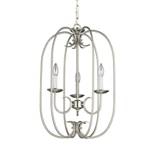 Webster Brushed Nickel 16-Inch Energy Star Three-Light Hall Foyer