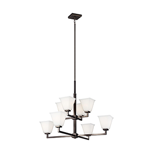 Aster Brushed Oil Rubbed Bronze Eight-Light Chandelier