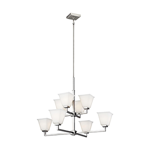 Aster Brushed Nickel Eight-Light Chandelier