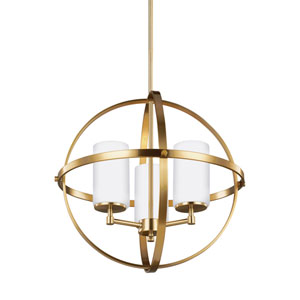 Nicolet Satin Bronze 19-Inch Three-Light Chandelier