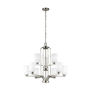 Anita Brushed Nickel 30-Inch Nine-Light Chandelier