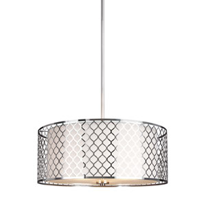 Uptown Brushed Nickel Three-Light Drum Pendant