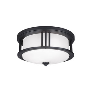 Uptown Black Energy Star Two-Light LED Outdoor Ceiling Flush Mount