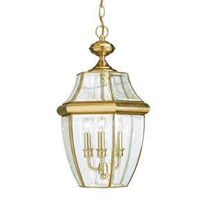 Oxford Polished Brass 12-Inch Energy Star Three-Light Outdoor Pendant