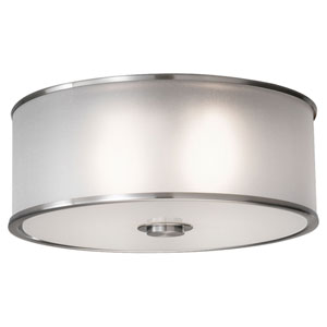 Essex Brushed Steel Two-Light Flush Mount