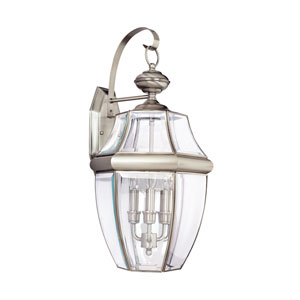 Oxford Antique Brushed Nickel 12-Inch Energy Star Three-Light Outdoor Wall Lantern