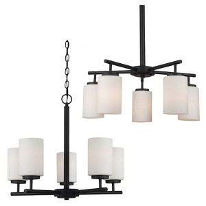 Pax Blacksmith Five-Light Chandelier with Satin Etched Glass