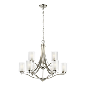 Uptown Brushed Nickel Nine-Light Chandelier