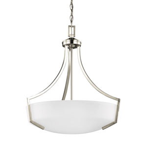Linden Brushed Nickel Energy Star Three-Light LED Pendant with Satin Etched Glass