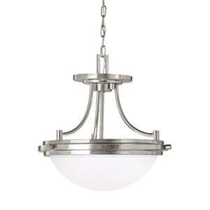 York Brushed Nickel Energy Star Two-Light LED Convertible Pendant