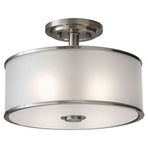 Essex Brushed Steel Two-Light Semi-Flush