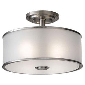 Essex Brushed Steel Two-Light Semi-Flush
