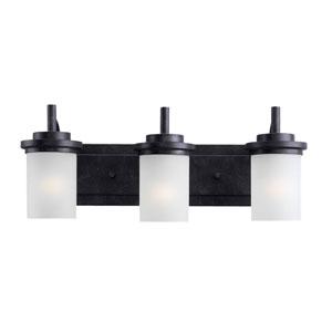York Three Light Blacksmith Bath Light with Satin EtchedGlass