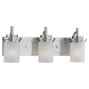 York Three-Light Brushed Nickel Bath Light with Satin Etched Glass