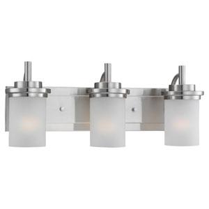 York Three-Light Brushed Nickel Bath Light with Satin EtchedGlass