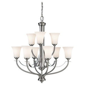 Evelyn Brushed Steel Nine-Light Chandelier