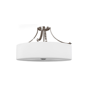 Nicolet Drive Brushed Steel Four-Light Semi-Flush Mount