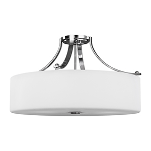 Nicolet Drive Chrome Four-Light Semi-Flush Mount