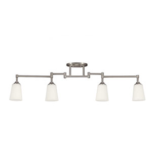 Madison Brushed Nickel Four Light Fixture Track Light Kit with Satin White Glass
