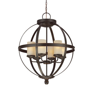 Afton Bronze Energy Star 25-Inch Six-Light LED Chandelier with Cafe Tint Glass