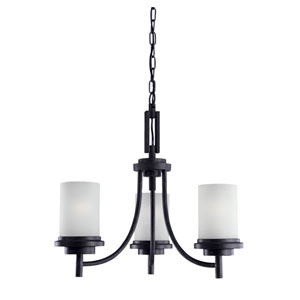 York Three-Light Blacksmith Chandelier with Satin Etched Glass