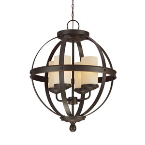 Afton Bronze Energy Star 19-Inch Four-Light LED Chandelier with Cafe Tint Glass