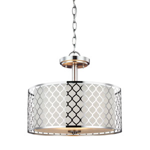 Uptown Brushed Nickel Two-Light Drum Pendant