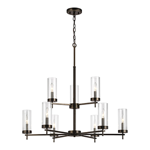 Loring Brushed Oil Rubbed Bronze Nine-Light Chandelier