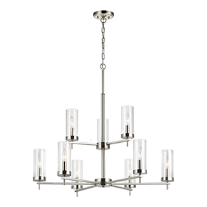 Loring Brushed Nickel Nine-Light Chandelier