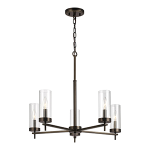 Loring Brushed Oil Rubbed Bronze Five-Light Energy Star Chandelier