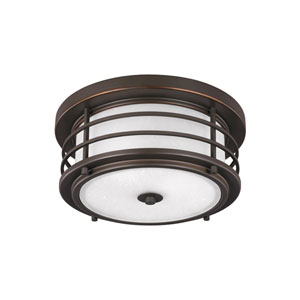 Lex Antique Bronze Two-Light Outdoor Flush Mount