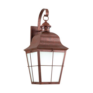 Hazel Weathered Copper Energy Star LED Outdoor Wall Lantern with White Glass