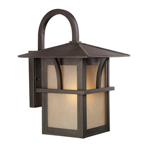 Ava Lakes One-Light Statuary Bronze Outdoor Wall Lantern with Etched Hammered with Light Amber Glass