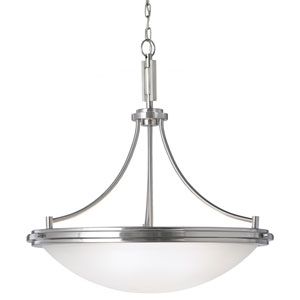 York Brushed Nickel 26-Inch Four Light Pendant