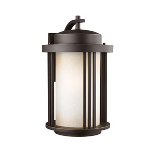 Uptown Antique Bronze Energy Star LED Outdoor Wall Lantern with Creme Parchment Glass